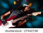 young handsome rock singer...   Shutterstock . vector #27442738