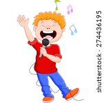 cartoon singing happily while... | Shutterstock .eps vector #274436195