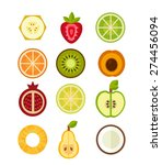 set of vector fruit on the... | Shutterstock .eps vector #274456094