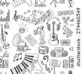 hand drawn music pattern ... | Shutterstock .eps vector #274460549