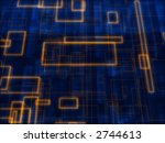 cubic_orange_wires_with_blue_tex... | Shutterstock . vector #2744613