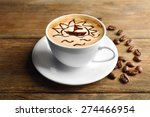 cup of latte art coffee with... | Shutterstock . vector #274466954