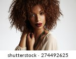 beauty black woman with a curly ... | Shutterstock . vector #274492625