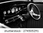 Interior Of Vintage Car  Black...