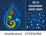 set of transparent water drops... | Shutterstock .eps vector #274556384