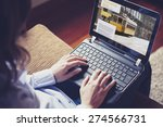 woman researching travel... | Shutterstock . vector #274566731