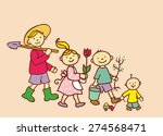 children go to plant a garden.... | Shutterstock .eps vector #274568471