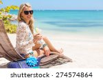 woman drinking cocktail and... | Shutterstock . vector #274574864
