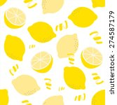 seamless lemon pattern on white ... | Shutterstock .eps vector #274587179