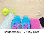 sport shoes and water with set... | Shutterstock . vector #274591325