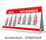 Calendar November 2016 On White ...
