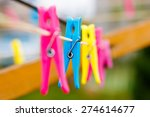 colorful clothespins on cord... | Shutterstock . vector #274614677