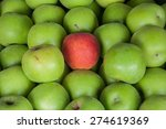 One Red Apple On Green Apple