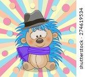 cute hedgehog wearing a scarf... | Shutterstock . vector #274619534