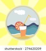 vector of cocktail on beach   Shutterstock .eps vector #274620209