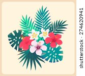 palm leaves and tropical... | Shutterstock .eps vector #274620941