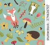 autumn forest  woodland animals ... | Shutterstock .eps vector #274626707
