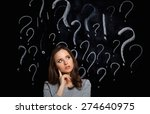 young girl with question mark... | Shutterstock . vector #274640975