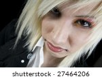 Edgy Youth Isolated on Black. - stock photo