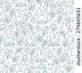 rabbit face contour blue...   Shutterstock .eps vector #274645631
