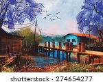 Old Fishing Village Oil...