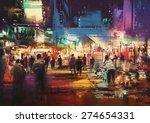 painting of shopping street...   Shutterstock . vector #274654331