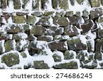 Dry Stone Wall In Winter Snow