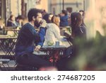 hipster couple drinking coffee... | Shutterstock . vector #274687205