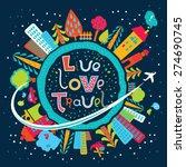 cute cartoon earth globe poster ... | Shutterstock .eps vector #274690745