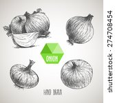onion hand drawn set. herbs and ... | Shutterstock .eps vector #274708454