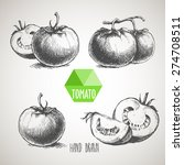 set of hand drawn tomato.... | Shutterstock .eps vector #274708511