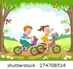 funny kids ride bikes along the ... | Shutterstock .eps vector #274708514