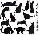 Stock vector black cats silhouettes 274718834