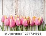 fresh tulips arranged on old... | Shutterstock . vector #274734995