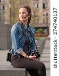beautiful happy young brunette... | Shutterstock . vector #274740137
