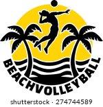 beach volleyball emblem | Shutterstock .eps vector #274744589
