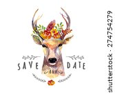 deer watercolor. save the date. ... | Shutterstock .eps vector #274754279
