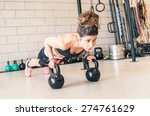 woman making push ups on the