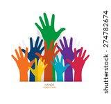 photo of raised hands. vector... | Shutterstock .eps vector #274782674
