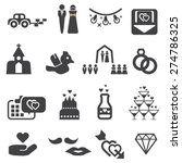 wedding icons set vector | Shutterstock .eps vector #274786325