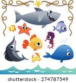 vector set of cute sea animals... | Shutterstock .eps vector #274787549
