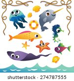 vector set of cute sea animals... | Shutterstock .eps vector #274787555
