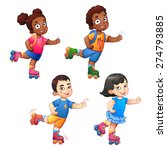 rollerblading children boys and ... | Shutterstock .eps vector #274793885