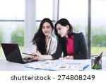 two businesswomen having a... | Shutterstock . vector #274808249