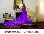 woman in a luxury  long purple...   Shutterstock . vector #274809581