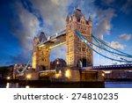 Tower Bridge At Dusk In London...