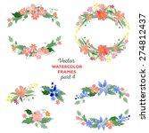 floral watercolor wreaths ... | Shutterstock .eps vector #274812437