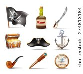 pirate icons set colorful with... | Shutterstock .eps vector #274813184