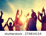 people celebration beach party... | Shutterstock . vector #274814114