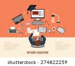 distance internet education and ... | Shutterstock .eps vector #274822259